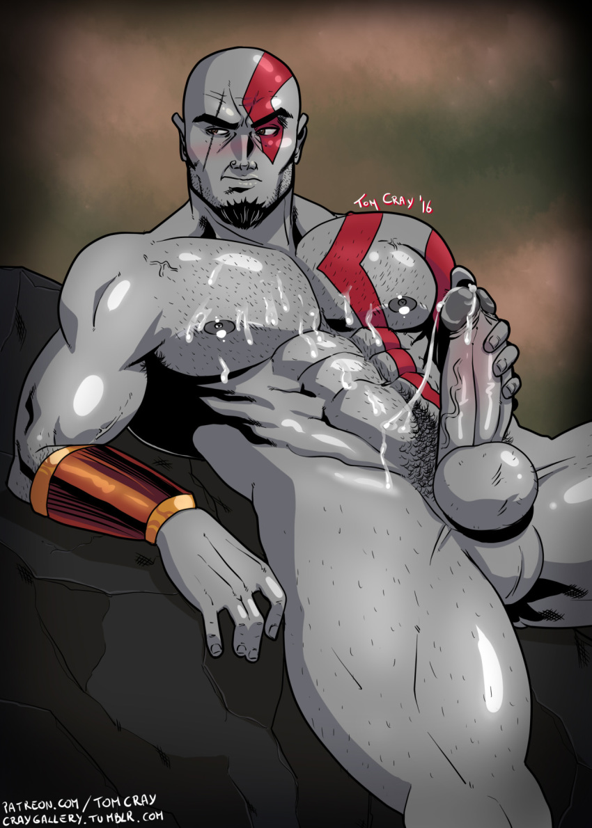 cum cumming cumming_penis god_of_war hand_on_penis kratos male masturbation muscle muscles naked nude yaoi