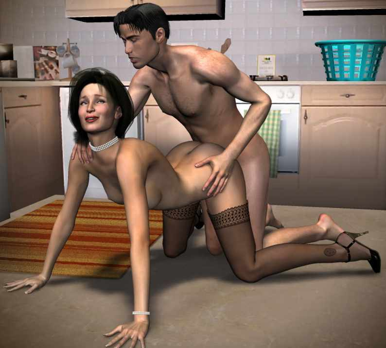 Explicit kitchen sex on the table 8