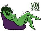1girl abs closed_eyes green_hair green_skin hairless_pussy iseenudepeople jennifer_walters marvel muscle mutant nude pussy she-hulk sleeping smile  rating:questionable score:4 user:zipp