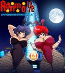 2girls akane_tendo areola black_hair breasts bunny_ears bunnygirl bunnysuit busty cleavage curvy dissel fishnet_pantyhose full_moon nipples ranma-chan ranma_1/2 ranma_saotome red_hair rule_63 voluptuous wrist_cuffs rating:Explicit score:16 user:gokussj400