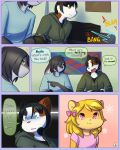 anthro cat comic cub dialogue drychicken english_text feline furry gaming girly lagomorph male mammal playing_videogame rabbit smile sound_effects speech_bubble text rating:Safe score:4 user:Furry_Love