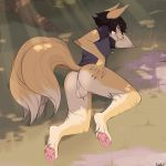 absurd_res anthro anus ass backsack bottomless canine clothed clothing detailed_background erection fennec fireflufferz_(artist) foof_(character) fox furry half_naked highres licking licking_lips looking_at_viewer looking_back mammal multi_tail nature pawpads paws perineum smile smug spreading testicles tongue tongue_out  rating:explicit score:5 user:furry_love