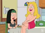 american_dad breasts francine_smith hayley_smith nipples no_bra smile thighs tongue_out topless