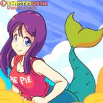 1:1_aspect_ratio 1girl 1girl 1girl areola bare_arms big_breasts blue_eyes blush breasts cloud dragon_ball flashing gif large_filesize long_hair looking_at_viewer mermaid mermaid_(dragon_ball) monster_girl navel nipples no_bra on_cloud parted_lips purple_hair red_shirt shirt simple_background sitting sitting_on_cloud sleeves_rolled_up twistedgrim