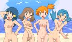 4_girls 4girls :d ;d aqua_eyes arm arm_up arms art ass_grab babe bare_arms bare_legs bare_shoulders beach bird blue_eyes blue_hair blush breasts brown_hair cloud crystal crystal_(pokemon) dawn erect_nipples friends gym_leader hair_ornament hairless_pussy half_updo hand_on_hip haruka_(pokemon) hikari_(pokemon) kasumi_(pokemon) kuro_hopper kusakabe330 leaning leaning_forward legs lineup long_hair looking_at_viewer low_twintails marina marina_(pokemon) may misty multiple_girls nintendo nipples nude nude_filter ocean oekaki open_mouth orange_hair photoshop pokemon pokemon_(anime) pokemon_(game) pokemon_gsc pokemon_rgby pokemon_rse pussy sand seagull short_hair sky small_breasts smile standing uncensored v water wink yuri
