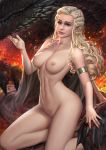 a_song_of_ice_and_fire blonde blue_eyes breasts cape daenerys_targaryen dragon game_of_thrones high_resolution nude nudtawut_thongmai pubic_hair pussy