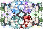 alternate_color amasa_mitsunaru checkered colorful hatsune_miku highres microphone miku_hatsune necktie no_panties thighhighs vocaloid