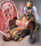 1boy 1girl altair_(re:creators) blitz_talker cervical_penetration cervix clothed cum cum_in_pussy cum_inside cum_on_lower_body large_penis long_hair male penis pussy pussy_juice re:creators reverse_cowgirl_position shiny shiny_skin spread_legs stockings stomach_bulge straight sudkampsin thighs uncensored uniform vaginal_penetration white_hair x-ray
