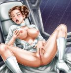 1girl ahegao boots breasts closed_eyes double_bun dress exposed_breasts female female_only fingering fingering_pussy fingering_self high_heel_boots masturbation no_bra no_panties open_dress orgasm partially_clothed princess_leia_organa pussy solo space spread_legs star_wars tagme white_boots