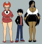 1boy 2_girls age_difference black_hair black_skirt blue_eyes bursting_breasts business_suit cleavage curvy danny_fenton danny_phantom dark-skinned_female dark_hair dark_skin desiree eyeshadow full_body full_cleavage garabatoz grey_background height_difference hourglass_figure impossible_clothes impossible_clothing jacket jeans larger_female long_hair male office_lady pencil_skirt penelope_spectra purple_lipstick red_hair short_skirt side_slit size_difference skirt smaller_male smile sunglasses thick_thighs thighs thin_waist toony very_long_hair wasp_waist wide_hips