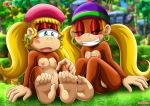 2girls ass blush breasts dixie_kong donkey_kong_(series) fur_34 multiple_girls nude palcomix pussy sisters smile tiny_kong