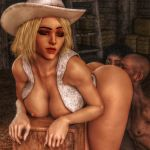 1boy 1girl 2_girls 2girls 3d anilingus ashe_(overwatch) ass ass_worship barn bent_over blonde blonde_hair bottomless breasts closed_eyes cowboy_hat cowgirl dark-skinned_female dark-skinned_male eyebrows eyelashes eyeliner eyes eyeshadow from_behind games half-dressed half_dressed half_naked hat legs licking licking_anus licking_ass lips lipstick makeup male medium_breasts mole mole_above_mouth overwatch red_lipstick render short_hair tan tanned tanned_skin thighs vest video_games xnalara xps