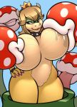 2018 ambiguous_gender anthro big_breasts breast_suck breasts digital_media_(artwork) female female/ambiguous flora_fauna freckles_(artist) group hand_on_hip horn huge_breasts koopa mario_bros nintendo non-mammal_breasts piranha_plant plant princess_koopa princess_peach pussy saliva scalie smile sucking tongue tongue_out video_games warp_pipe