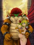 1girl 2boys blonde_hair blue_eyes bowser bowser_jr crown earrings eroknight female female_human hairless_pussy koopa looking_at_viewer nude pregnant pregnant_belly princess_peach pussy standing super_mario_bros.