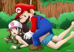 1girl brown_hair crossover game_freak hilda hilda_(pokemon) mario mario_(series) nintendo palcomix plumber pokemon pokemon_(game) pokemon_bw super_mario_bros. touko_(pokemon)