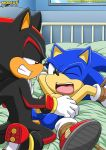 anal anal_penetration bdsm bed black blue bondage gay green_eyes hedgehog male mobius_unleashed on_back one_eye_closed open_mouth penetration penis rape red_eyes red_markings sega shadow_the_hedgehog sonic sonic_the_hedgehog tail testicle testicles yaoi
