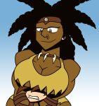 amazonian black_hair breast_grab breasts brown_eyes cleavage dark_skin earring futurama hair hairband loincloth necklace original ornik short_hair smile