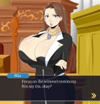1girl ace_attorney arms_crossed breasts brown_eyes brown_hair business_suit cleavage earrings huge_breasts indoors jinu long_hair looking_at_viewer mia_fey mole_under_mouth necklace open_mouth scarf text text_box