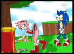 1_female 1_male 2_anthros amy_rose anthro anthro_hedgehog anthro_only avengers bend_over blood blue_fur boots cover_up crossover drool female female_anthro furry gloves grass hammer hedgehog male male_anthro male_anthro_hedgehog marsj marvel outdoor outdoors pink_fur saliva smile sonic sonic_team sonic_the_hedgehog spit staring staring_at_ass tail tail_wag thor topless tree