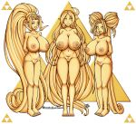 areolae big_breasts breasts commission din farore female gold gold_statue nayru nipples nude pussy seductivebunneh smile statue tattoo the_legend_of_zelda