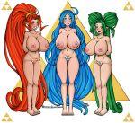 areolae big_breasts breasts commission din farore female nayru nipples nude pussy seductivebunneh smile tattoo the_legend_of_zelda