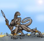 big_breasts breasts desert dinosaur female furry jewelry lordstevie lordstevie_(artist) mountain nude polearm primative pussy reptile scalie solo spear tail tribal