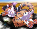 2010 amber_eyes ass big_ass black black_hair breasts cheetah chest_tuft chubby claws color digitigrade feline female field furry hair hindpaw inuki long_hair looking_at_viewer nipples nude on_side orange plantigrade pussy raised_arm solo spots tail white