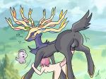 2014 antlers castform cervine deer from_behind hetero huge_penis human interspecies outside penis pokemon pokephilia sex trainer vaginal_penetration xerneas zoophilia