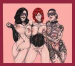 3_girls commander_shepard femshep jack mass_effect miranda_lawson multiple_girls
