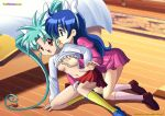2_girls blue_hair character_request palcomix series_request stockings yuri_haven