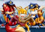 2girls cosplay erect_nipples fiona_fox footjob handcuffed marine_the_raccoon miles_prower miles_tails_the_fox mobius_unleashed multiple_girls palcomix penis pussy sega sonic_(series)