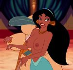 aladdin_(series) black_hair breasts disney edit partially_clothed princess_jasmine the_sultan topless