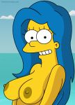 breasts grin marge_simpson nipples the_simpsons topless