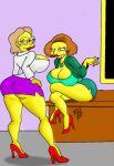 2_girls ass big_breasts breasts brown_hair cleavage clothes color cougar curvy edna_krabappel elizabeth_hoover hair high_heels huge_breasts human maxtlat miniskirt multiple_girls older_female skirt smile standing tagme teacher the_simpsons yellow_skin