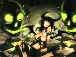 1girl bad_id black_hair black_rock_shooter breast_grab breasts chain chains dead_master grabbing green_eyes horns long_hair navel nipples self_fondle sitting skull solo torn_clothes wings zhuxiao517