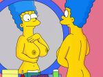 ass breasts marge_simpson mirror nipples nude smile the_simpsons