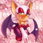 animal_ears bat blue_eyes blush boots breasts cleavage eyeshadow female furry gloves half-closed_eyes makeup mikuhoshi rouge_the_bat sega smile solo sonic_the_hedgehog tail white wings ♥