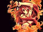 1600x1200 flower hentai highres itou_noiji katana lily_(flower) long_hair nude red_eyes red_hair shakugan_no_shana shana sword wallpaper weapon