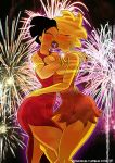amy_wong big_breasts breasts crossover fireworks futurama kogeikun_(artist) lisa_simpson passionate_kiss red_dresses simpsons the_simpsons tongues_entwined yellow_skin
