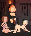 bdsm bondage breasts corset family_guy frost969 lois_griffin pussy strap-on topless