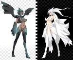 2_girls 2girls armor bare_shoulders black_hair blue_eyes boots breasts choker dark_skin detached_sleeves emukon high_heel_boots high_heels high_res highres long_hair multiple_girls navel parted_lips personification pokemon red_eyes reshiram shiny shiny_clothes shiny_skin short_hair standing thigh_boots thighhighs thong white_hair wings zekrom