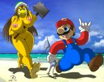 angry beach big_breasts bikini blush boots bra breasts chase chasing clouds female growl hammer hammer_bros hammer_bros. helmet huge_breasts mario mario_bros mustache nintendo overalls running sea seaside sky smile ticklishways ticklishways_(artist) toes video_games water yellow