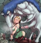 1girl ass bdsm beastiality belt bestiality bianca blonde_hair blush bondage boots bound braid breasts breath chain chains collar cuffs cum doggystyle dragon_quest dragon_quest_v feet from_behind green_eyes hero_(dq5) horse horse_penis horsecock huge_penis indoors jami jyami kneeling large_breasts long_hair misonou_hirokichi monster open_mouth penis rape saliva shackles single_braid size_difference statue steam stockings tears teeth thighhighs tongue tongue_out torn_clothes wife
