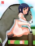 1girl anime anus ass bent_over bestiality blue_hair blush breasts censored doggystyle donkey fence from_behind happy_sex large_breasts looking_back machino_henmaru nude open_mouth penis pussy sex short_hair sitting solo_focus vaginal