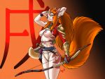 armor bow bracelet breasts canine dr_comet dr_comet_(artist) female fox fundoshi furry hair headband jewelry knife looking_at_viewer nipples red_hair sash smile solo topless unconvincing_armor underwear weapon wink yellow_eyes