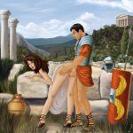 ass bent_over clothed dress dress_lift female from_behind greece greek hands_on_ass male personalami_(artist) roman rome sex