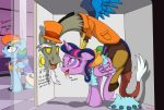 alicorn ambiguous_penetration cutie_mark discord draconequus dress drooling english_text female_pegasus friendship_is_magic from_behind horn hypnosis hypnotized interspecies male/female mind_control my_little_pony open_mouth partially_clothed pegasus pony rainbow_dash rainbow_dash_(mlp) sex tail tongue_out top_hat torn_dress twilight_sparkle twilight_sparkle_(mlp) wings