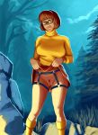 bottomless garter_belt glasses no_panties pubic_hair pussy scooby-doo skirt_lift stockings thighs velma_dinkley