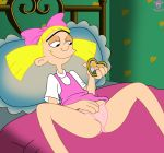 arnold_shortman bed bigtyme blonde_hair bow dress dress_lift helga_pataki hey_arnold hey_arnold! panties pink_panties twin_tails underwear