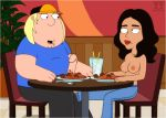 boner chewing chris_griffin family_guy foot funny gif guido_l isabella restaurant spaghetti table topless